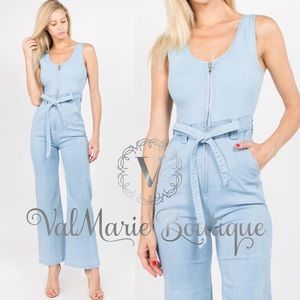 Light blue denim zip up Jumpsuit
